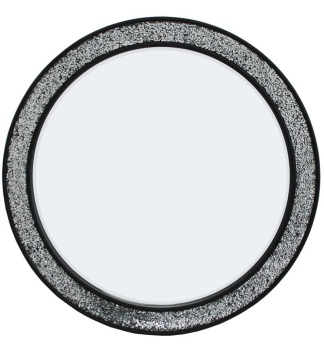 Flat Bar Crushed glass Mosaic Sparkle Bevelled Round Mirror in Silver / Black 80cm