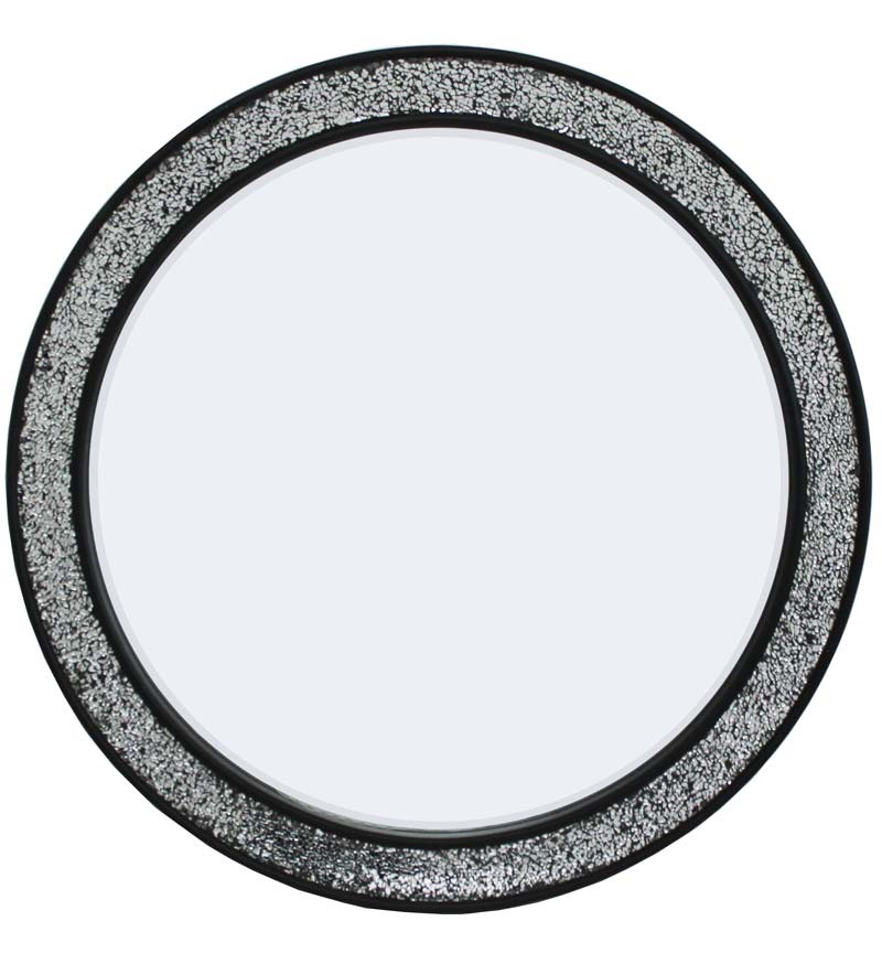 Flat Bar Crushed glass Mosaic Sparkle Bevelled Round Mirror in Silver / Bla