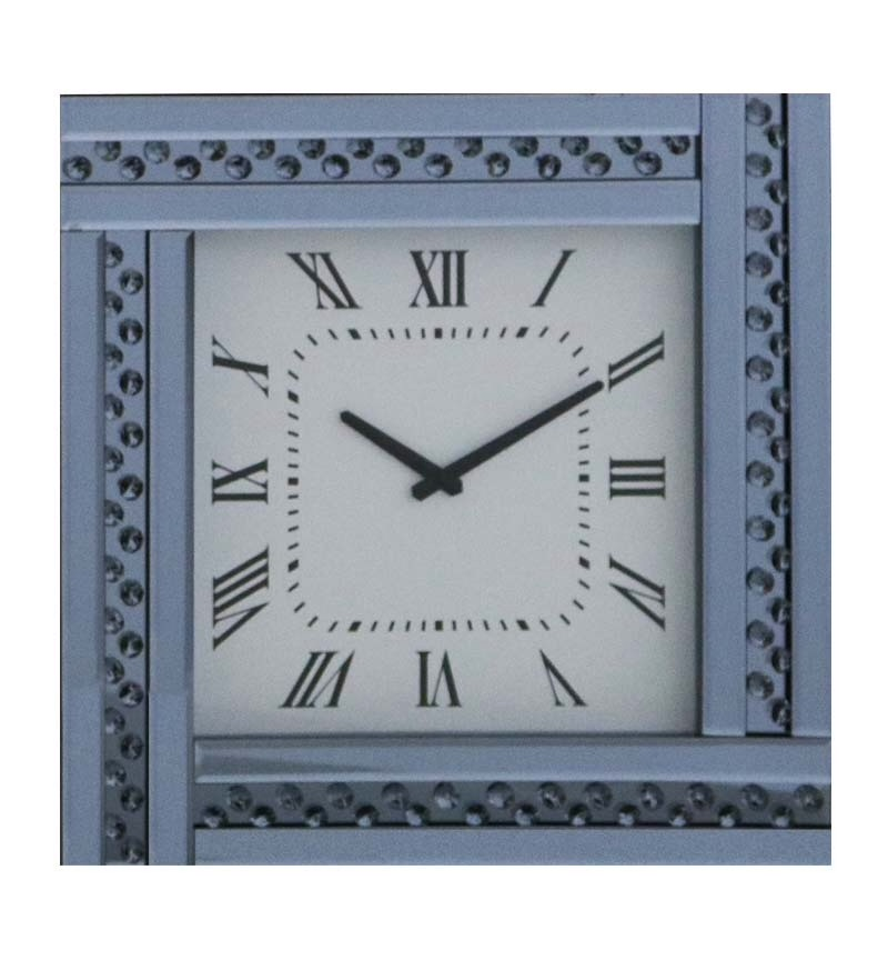 Floating Crystal Crystal Mirrored Smoked Grey Clock 45cm x 45cm