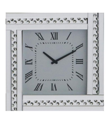 Floating Crystals Mirrored Silver Clock 45cm x 45cm