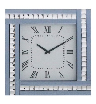 Crystal Border Smoked Grey Mirrored Clock 45cm x 45cm