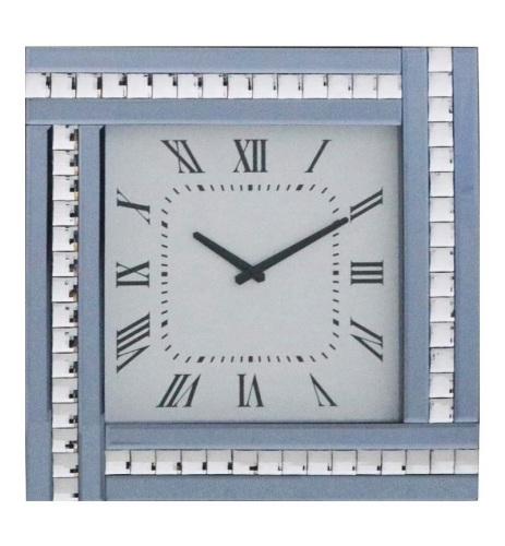 Crystal Border Smoked Grey Mirrored Clock 45cm x 45cm