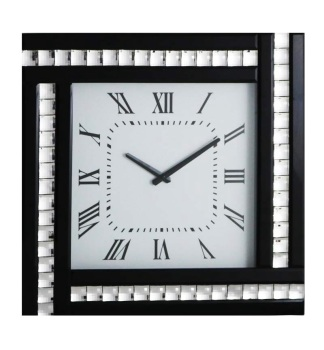 Crystal Border Silver / Black Mirrored Clock 45cm x 45cm