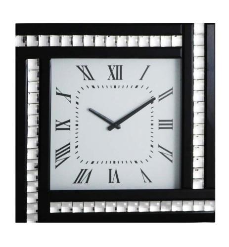 Crystal Border Silver / Black Mirrored Clock 45cm x 45cm
