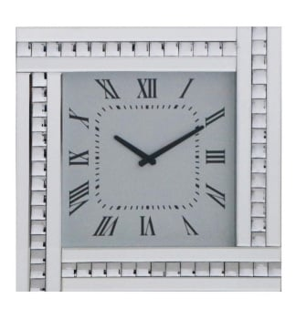 Crystal Border Silver Mirrored Clock 45cm x 45cm