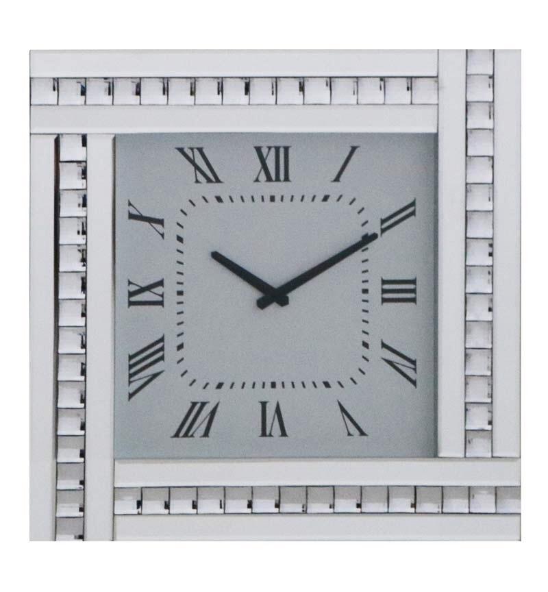 Crystal Border Silver Mirrored Clock 45cm x 45cm