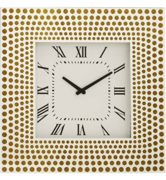 Silver & Gold Mirrored Clock 50cm x 50cm