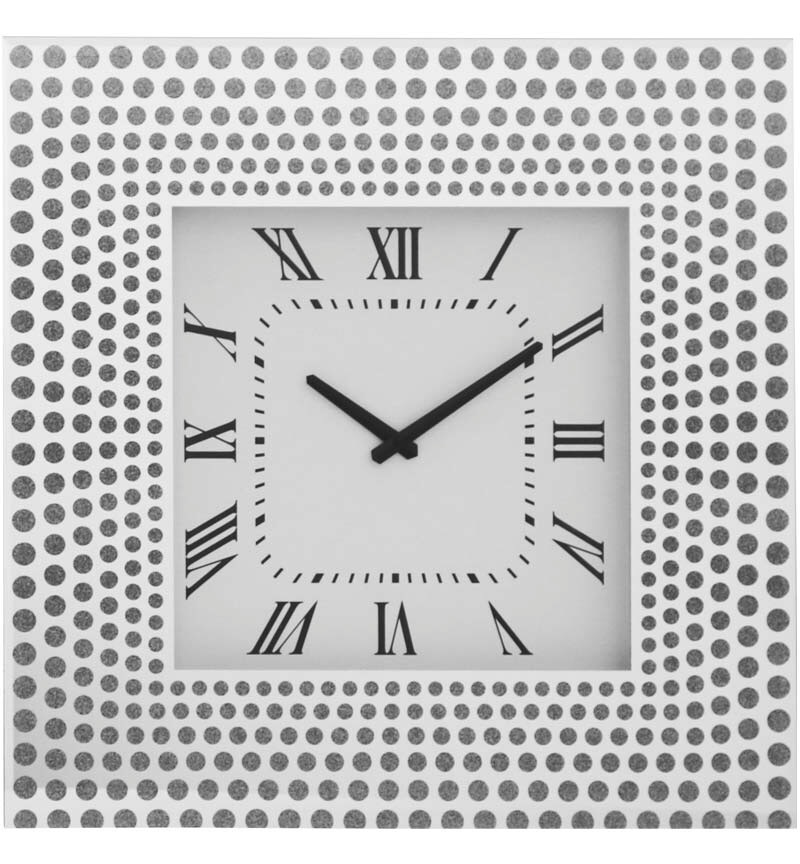 Silver Mirrored Clock 50cm x 50cm