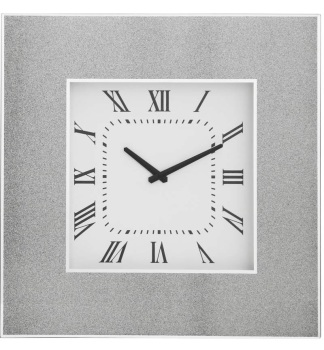 Silver Sparkle Mirrored Clock 50cm x 50cm