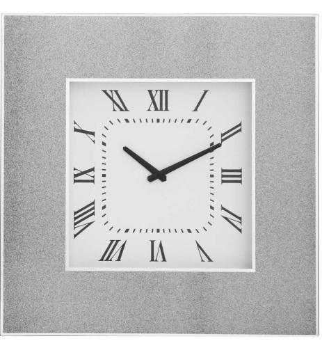 Silver Sparkle Mirrored Clock 50cm x 50cm