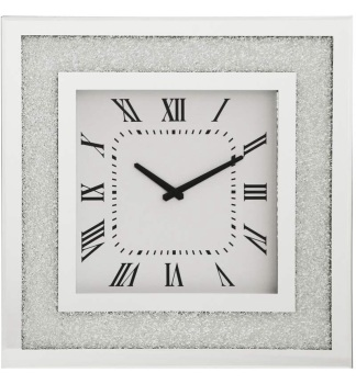 Silver Sparkle border Mirrored Clock 50cm x 50cm