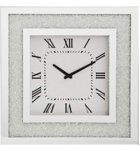 Silver Sparkle border Mirrored Clock 50cm x 50cm