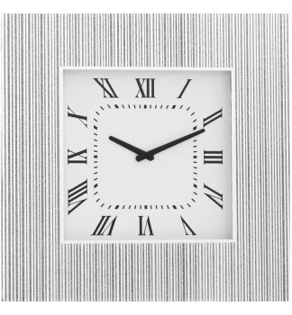 Silver Glitter Mirrored Clock 50cm x 50cm