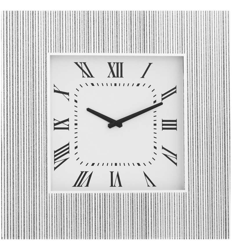Silver Glitter Mirrored Clock 50cm x 50cm