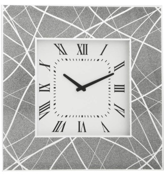 Silver Sparkle Linea Mirrored Clock 50cm x 50cm