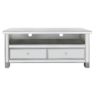 Classic Venetian Mirrored Tv Base Unit Silver Trim & Crystal Handles