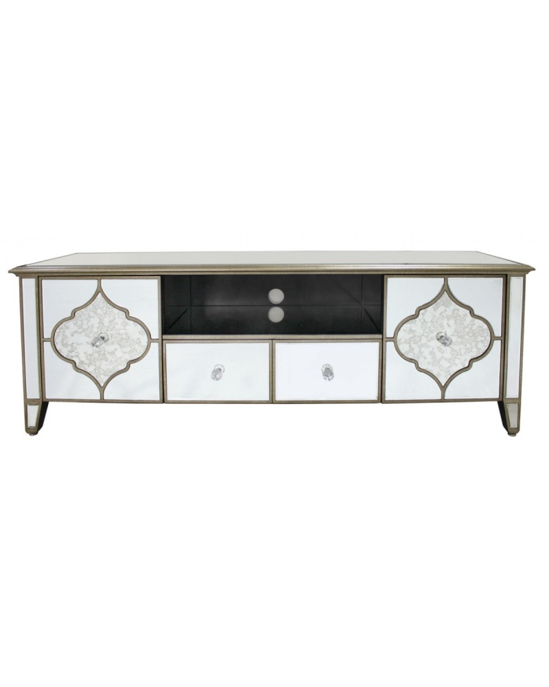 Extra Large Marrakech Gold & Mirrored TV Entertainment Unit - Free delivery