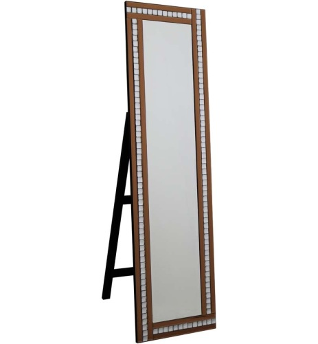 Crystal Mosaic Bronze Mirrored Bevelled Cheval Mirror 150cm x 40cm