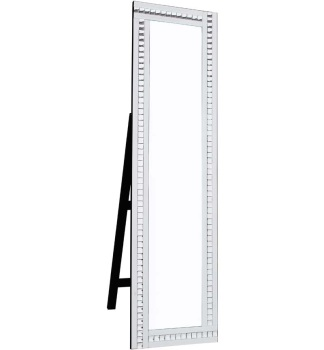 Crystal Border White Mirrored Bevelled Cheval Mirror 150cm x 40cm