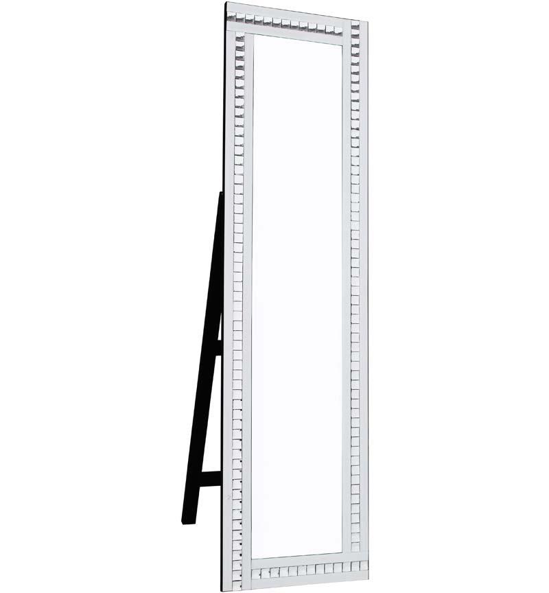 Crystal Mosaic White Mirrored Bevelled Cheval Mirror 150cm x 40cm