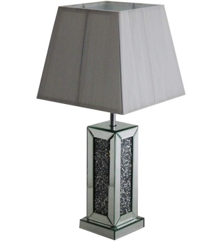 ^Diamond Crush Crystals Sparkle Mirrored Table Lamp