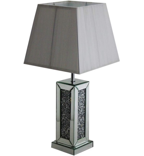 Perfect ^Diamond Crush Crystals Sparkle Mirrored Table Lamp