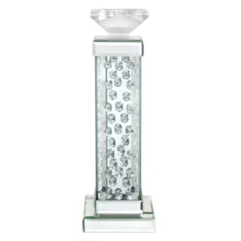 Floating Crystals mirroed Candle Stick 38.5cm x 13cm