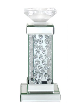 Floating Crystals Mirrored Candle Stick 29cm x 13cm