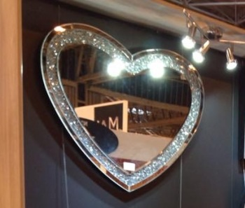 * New Crush Sparkle Crystal Heart Wall Mirror 120cm x 80cm