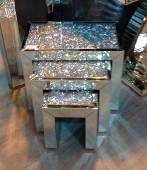 * New Crush Sparkle Crystal Nest of 3 Tables