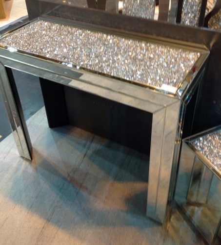 Crushed Diamond Mirrored Coffee Table: *Diamond Crush Crystal Sparkle Console Table Item In Stock