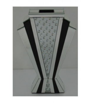 Floating Crystals Mirrored Vase Black & Silver 60cm x 38cm x 14cm
