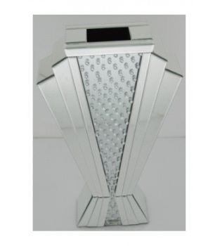 Floating Crystals Mirrored Vase Silver 60cm x 38cm x 14cm