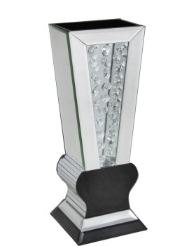 Floating Crystals Mirrored Vase Black & Silver 38cm  x 14cm x 15cm