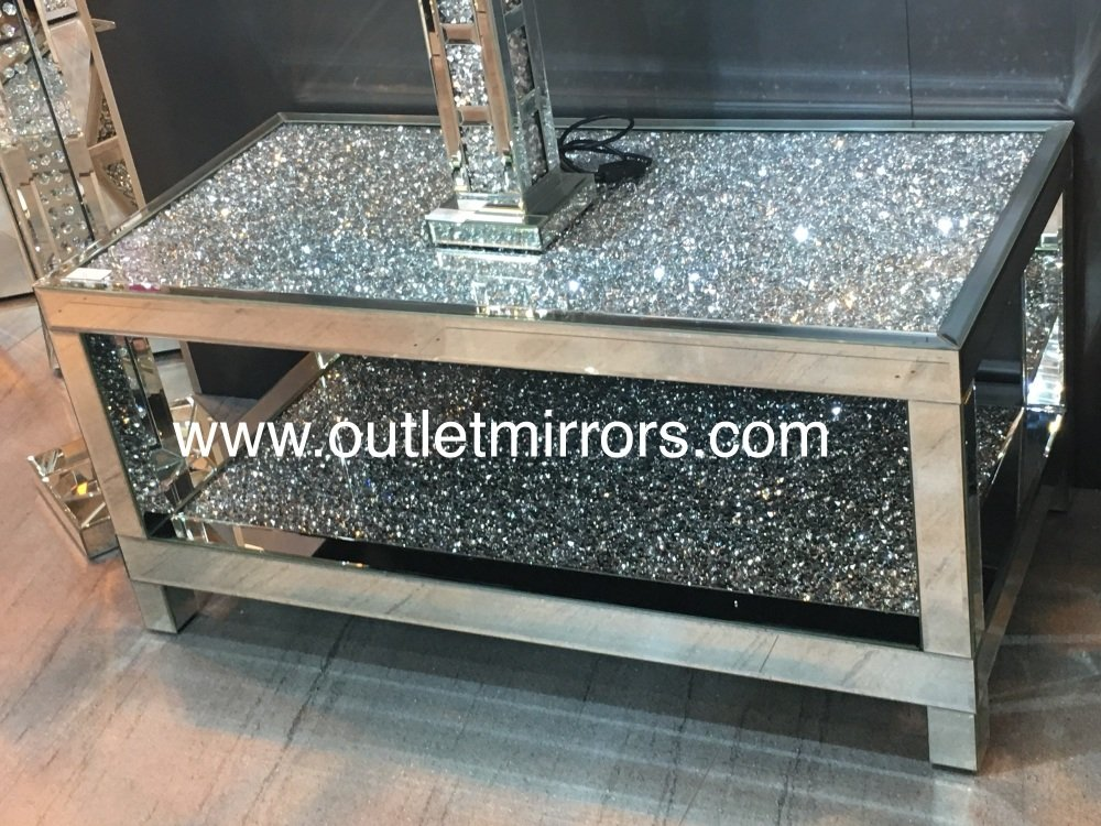 Stunning Silver Crush Sparkle Wall Mirror By Outletmirrors