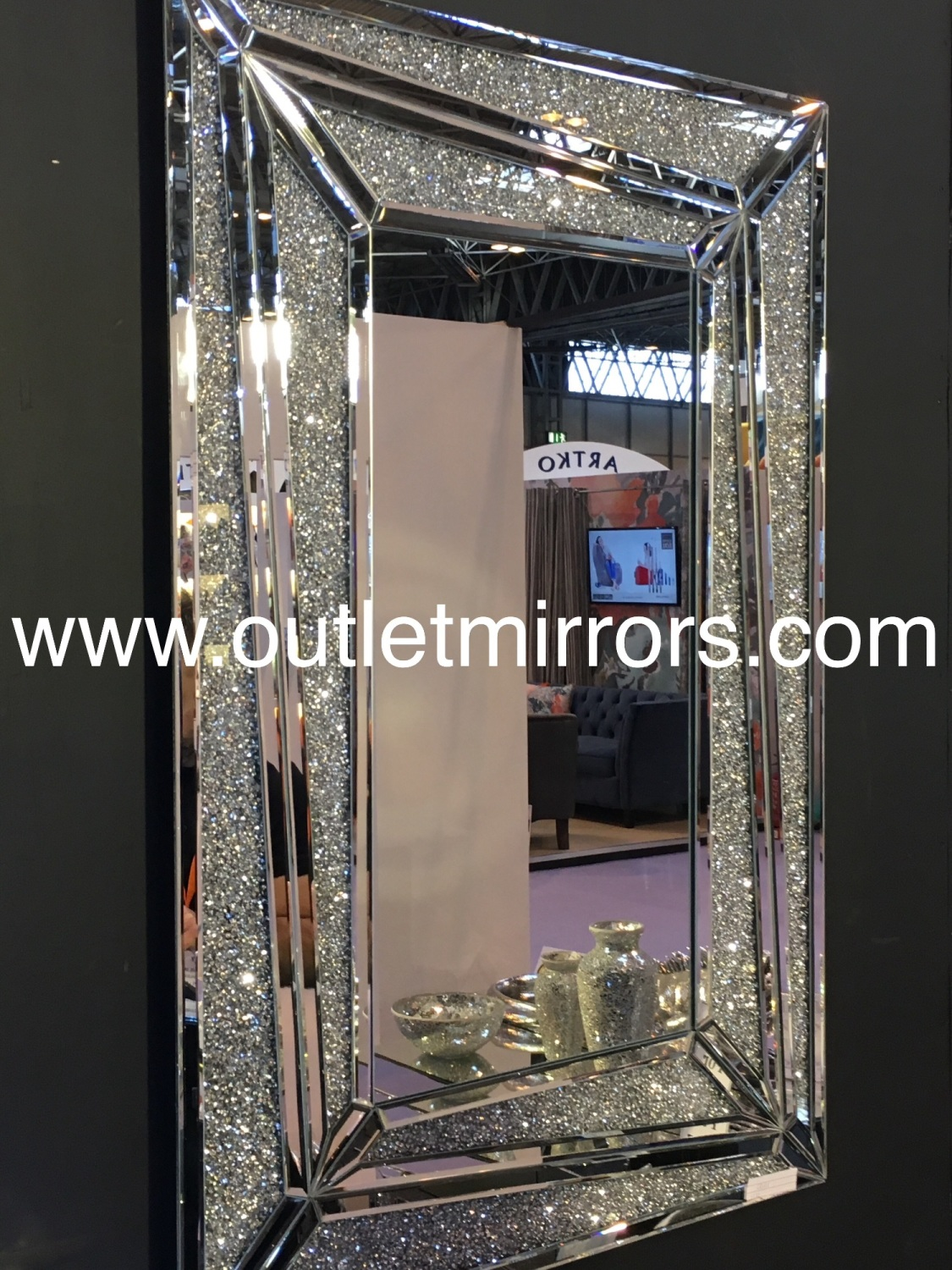 Crystal Wall Mirror special offer floating crystals bevelled wall mirror, 120cm x 40cm