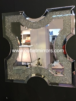 * New Crush Sparkle Crystal Ornate Shaped Wall Mirror 90cm x 90cm instock for a fast delivery