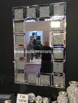 * New Crush Sparkle Crystal Blocks Wall Mirror 120cm x 80cm