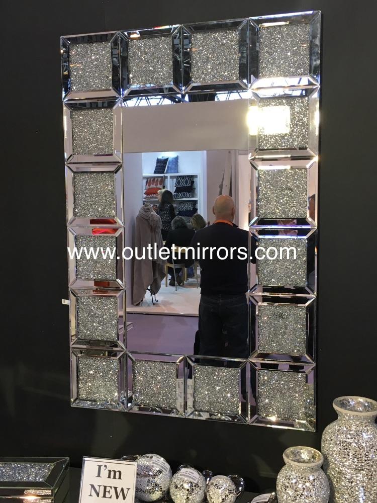 * New Crush Sparkle Crysta Blocks Wall Mirror 120cm x 80cm