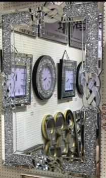 * New Diamond Crush Sparkle Crystal Anabelle Wall Mirror 120cm x 80cm