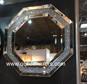* New Crush Sparkle Crystal Hex Shaped Wall Mirror 50cm x 50cm