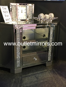 * New Crush Crystal Sparkle Mirrored Corner TV Entertainment Unit High