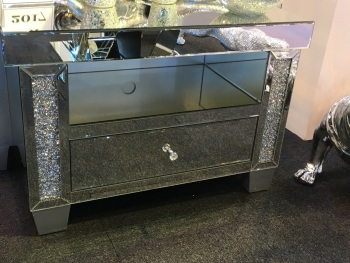 * New Crush Crystal Sparkle Mirrored TV Entertainment Unit low