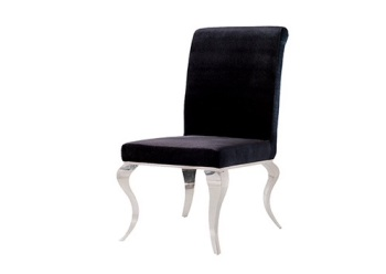 Plush Black Dining Chair with Chrome Silver Leg