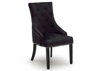 Knocker Back Crush Velvet Dining Chair in Lustre Black