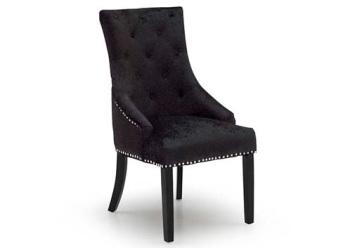 Knocker Back Crush Velvet Dining Chair in Lustre Black