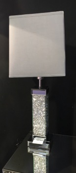 Diamond Crush Crystals Sparkle Mirrored Table Lamp