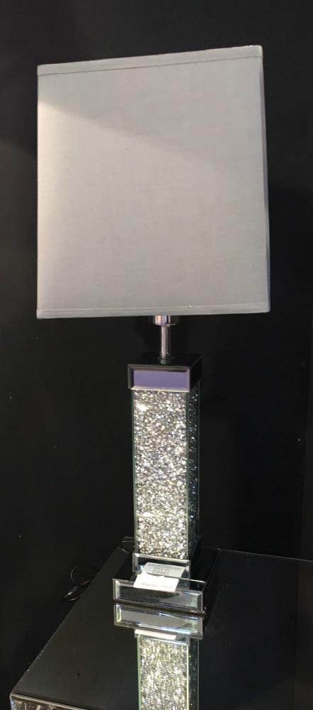 Diamond Crush Crystals Sparkle Mirrored Table Lamp