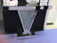 "*Diamond Crush Sparkle ""v"" Crystal Diamond Console Table"