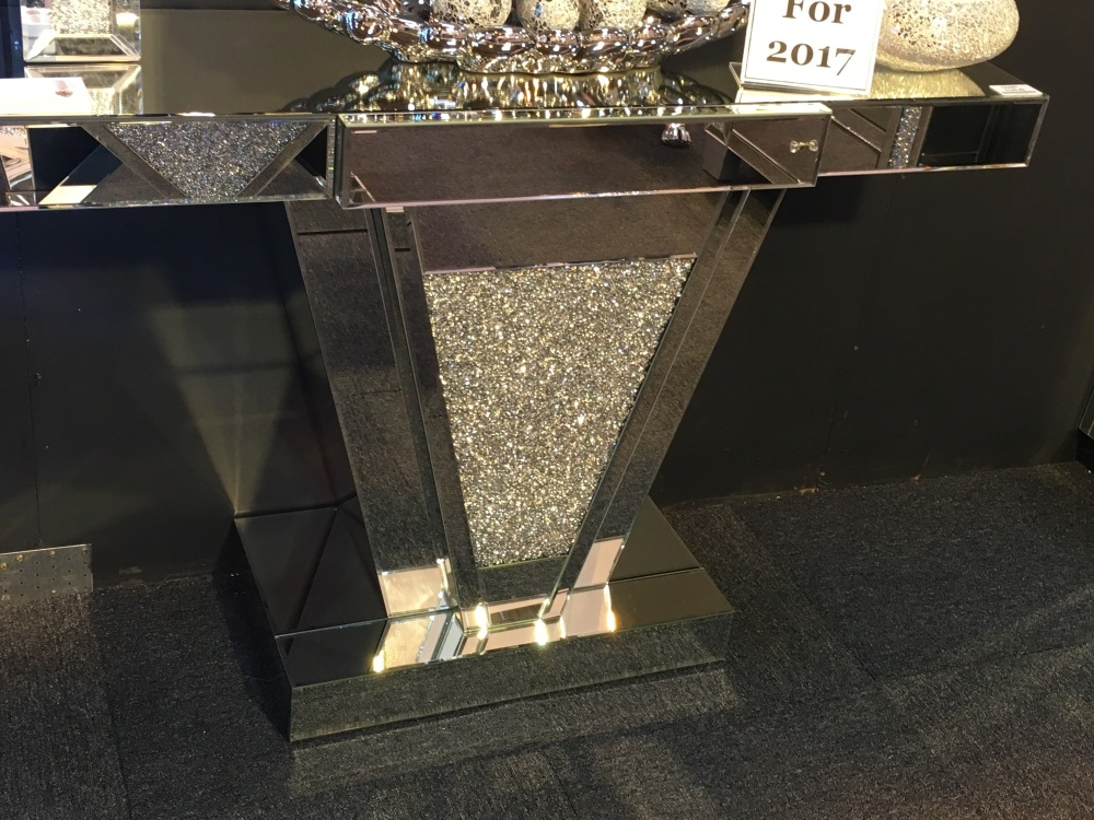Diamond Crush Sparkle Crystal Amelia Console Table